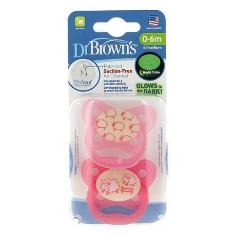 Dr. Brown's Chupete Prevent Brilla 0-6 meses 2 uds