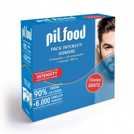 Pilfood Pack Intensity Hombre 15 Ampollas + 60 Comprimidos + Champú