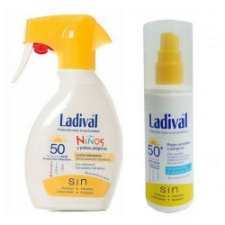 Pack familiar Ladival Piel Sensible y Alérgica SPF 50 Gel Spray 150ml + Ladival Niños SPF 50 Spray 200ml