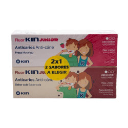 Fluor-Kin Junior Sabor Fresa 75ml + Sabor Cola 75ml