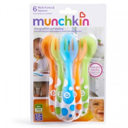 Munchkin Pack Cucharas y Tenedores Multicolor +12m 6 ud