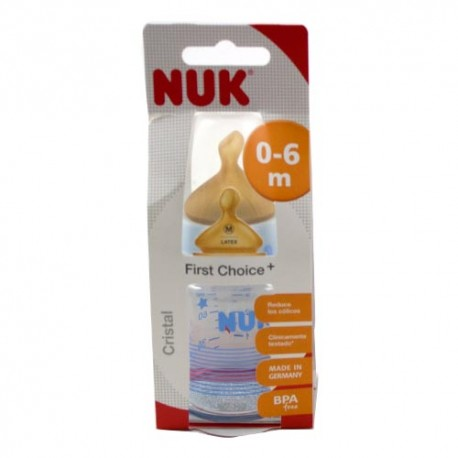 Biberón Nuk First Choice Cristal Látex 0-6 Meses 120 ml