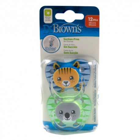 Dr Brown's Chupete Prevent Animales +12m 2 Unidades