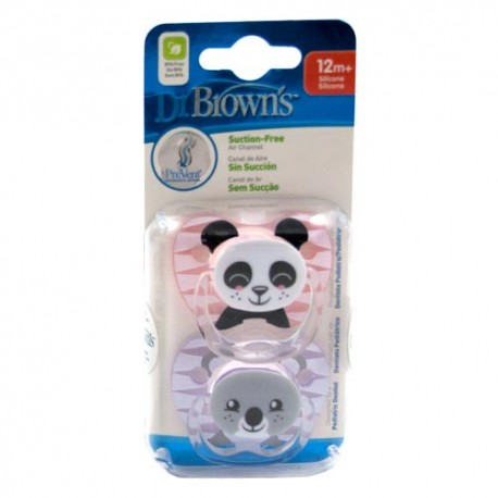 Dr. Brown's Chupete Prevent Animales +12m 2 Unidades