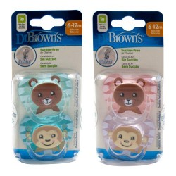 Dr Brown's Chupete Prevent Animales 6-12m 2 Unidades