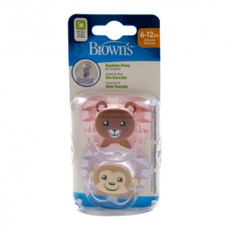 Dr. Brown's Chupete Prevent Animales 6-12m 2 Unidades