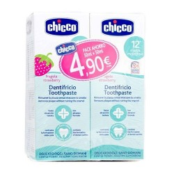 Chicco Crema Dental Duplo Sabor Fresa +12m 2x50ml