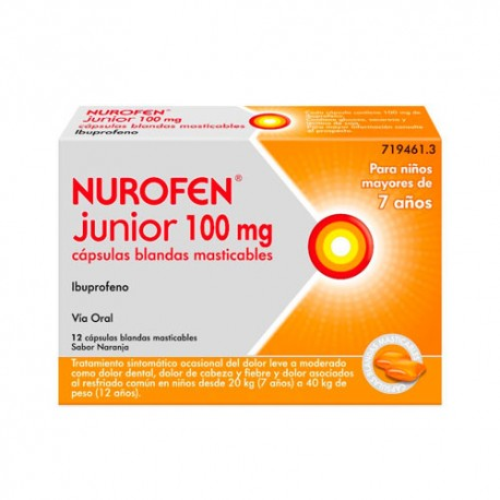 Nurofen Junior 100 mg 12 Capsulas Blandas Masticables
