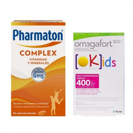 Pharmaton Complex Cápsulas + Omegafort Kids Gominolas Pack Familiar
