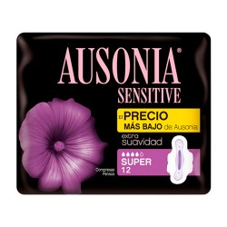Ausonia Sensitive Super Con Alas 12 Unidades