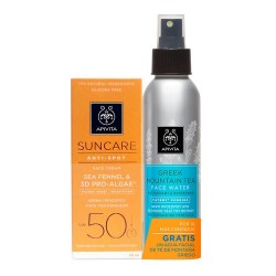 Apivita Pack Suncare Crema Antimanchas con Color SPF50 50ml + Agua Facial de Té de Montaña 100ml