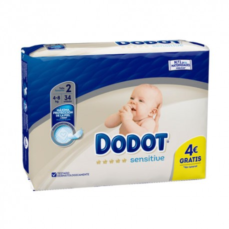 Dodot Sensitive Protection Plus Talla 2 (4-8kg) 34 Unidades