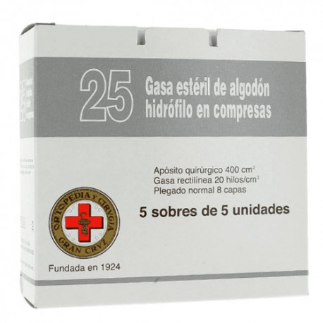Gran Cruz Gasa Estéril 25 Compresas