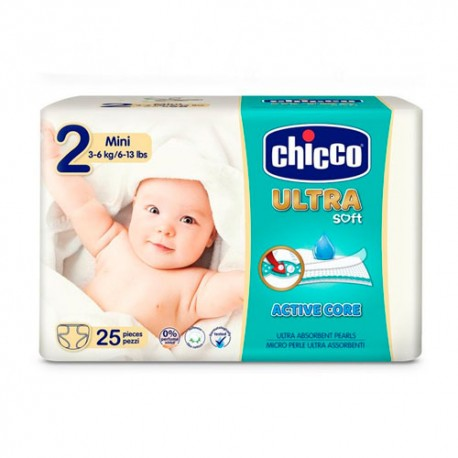 Chicco Ultra soft Mini Talla 2  (3-6kg) 25 Unidades