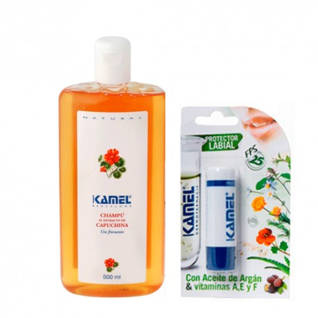 Kamel Champú Extracto de Capuchina 500ml + Stick Labial