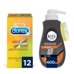 Comprar Veet for Men Piel Sensible 400ml + Durex Real Feel 12 Unidades