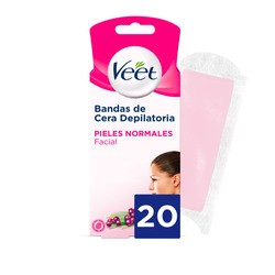 Veet Bandas de Cera Depilatoria Facial Piel Normal 20uds