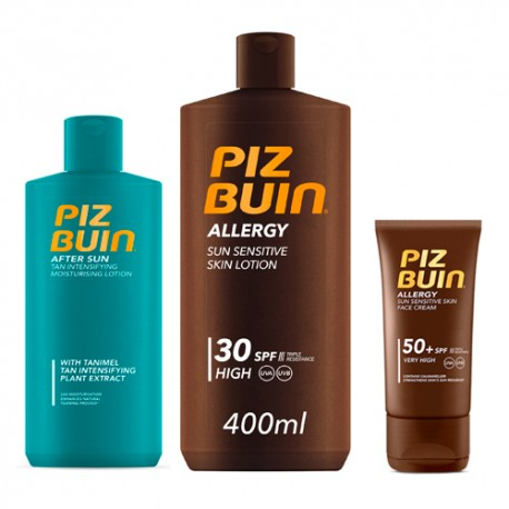 Pack Solar Piz Buin Facial SPF 50 + Corporal  SPF 30 + After Sun