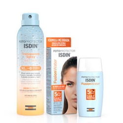 Comprar Isdin Pack Protector Fusion Water SPF50 50ml +Spray Transparente Wet Skin SPF30 250ml