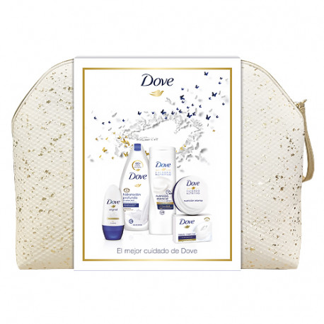 Dove Neceser Mujer Gel Hidratación 500ml + Loción 400ml + Crema 75ml + Roll On Original 50ml