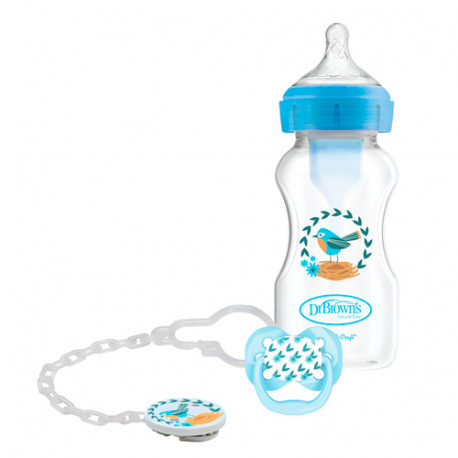 Dr. Brown's Biberón Options Anti-Colic Boca Ancha 270ml + Chupete + Broche