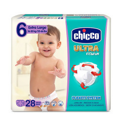 Comprar Chicco Pañal Ultra Fit and Fun 16-30Kg Talla 6 28 unidades