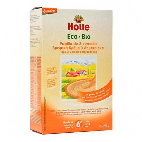 Holle Papilla 3 Cereales Eco +6 Meses 250gr
