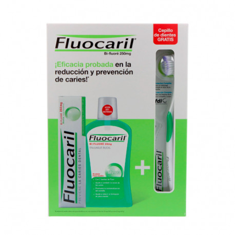 Fluocaril Bi-Fluoré Pack Pasta 125ml + Colutorio 500ml + Cepillo Dental