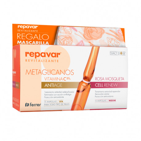 Repavar Revitalizante Antiedad + Cell Renew 15 Ampollas + Mascarilla Regalo