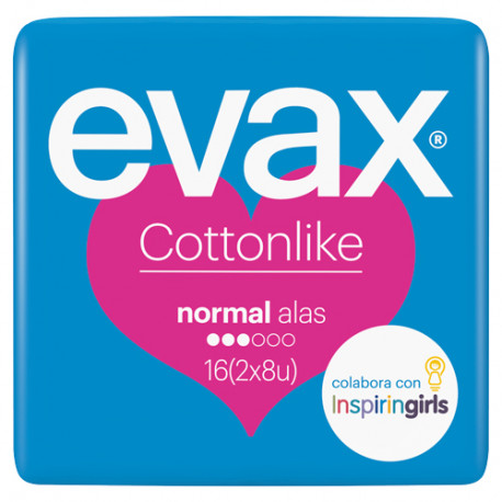 Evax Cottonlike  con Alas Normal 16 Unidades