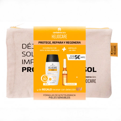 Heliocare Pack 360º Mineral Tolerance 50ml + Endocare Radiance Oil Free 10 Ampollas